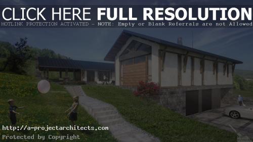 Проект за еднофамилна къща на един етаж с басейн
